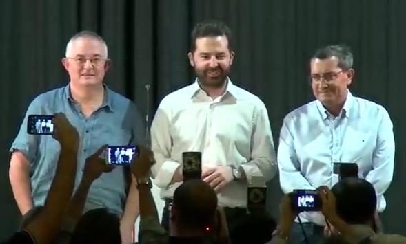 Rueda, López y Entrena, al inicio del debate.