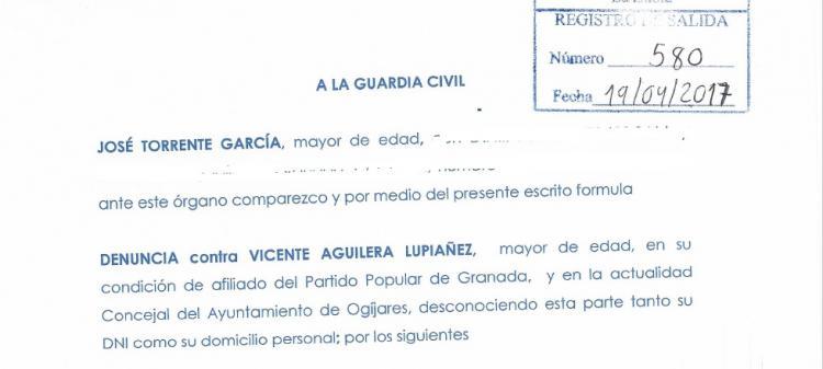 Detalle de la denuncia presentada por Torrente contra Vicente Aguilera.