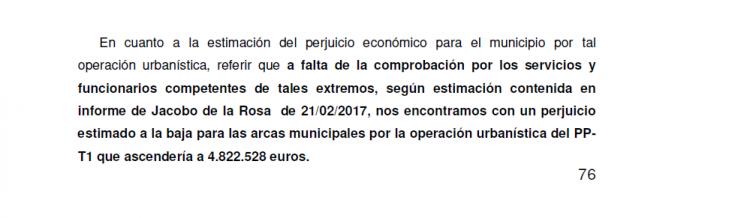Detalle del informe en el que se detalla el perjuicio a las arcas municipales.