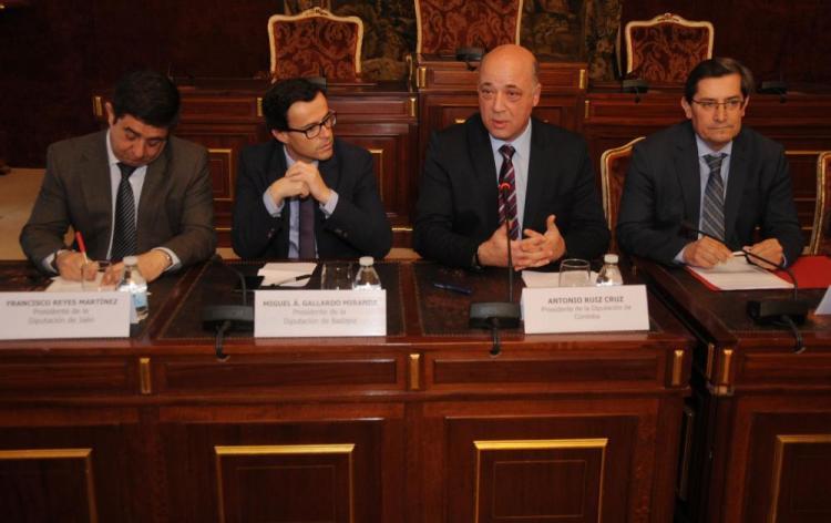 Los presidentes de las diputaciones de Jaén, Badajoz, Córdoba y Granada.