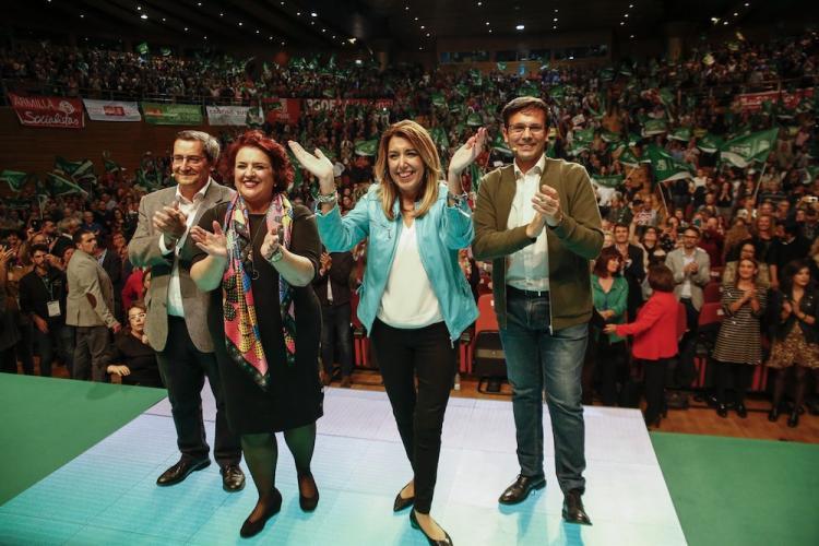 Susana Díaz, rodeada de Entrena, Jiménez y Cuenca.