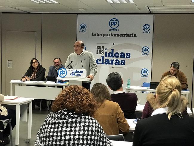 Sebastián Pérez durante su intervención en la interparlamentaria del PP.