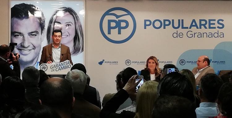 Juan Manuel Moreno durante su intervención ante la Junta Directiva Provincial del PP.
