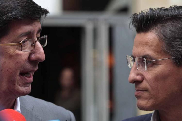 Juan Marín en una comparecencia con Luis Salvador.