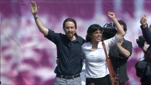 Pablo Iglesias con Teresa Rodríguez.