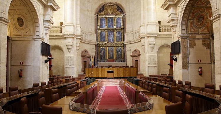 Parlamento de Andalucía, vacío a la espera del 2D.