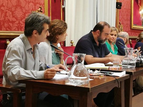 Grupo de Podemos IU en el pleno del Ayuntamiento.