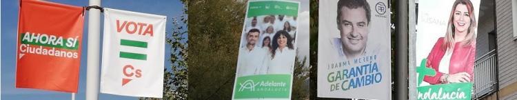 Carteles de Cs, Andalucía Adelante, PP y PSOE.