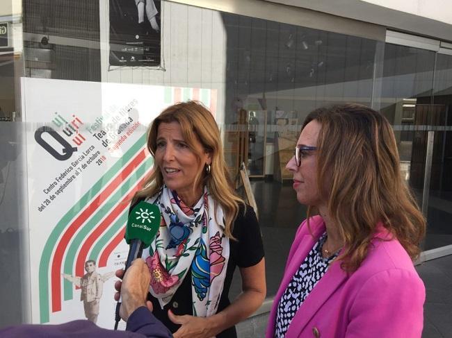 Eva Martín y Rocío Díaz, este lunes, a las puertas del Centro Lorca.