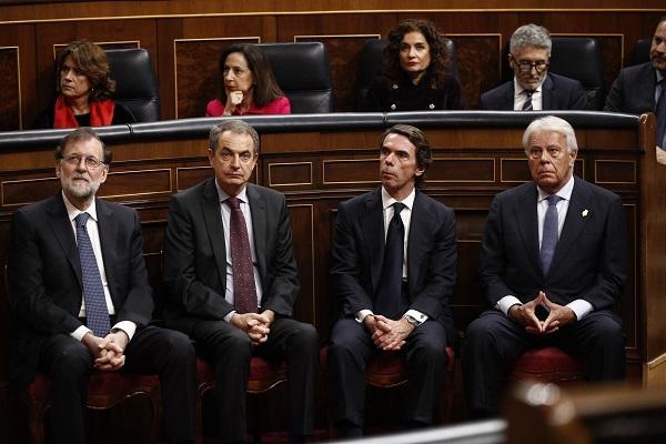 Los expresidentes, en el acto del 40 aniversario de la Constitución.