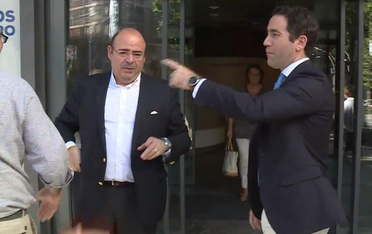 Sebastián Pérez y Teodoro García Egea, en la sede del PP en Madrid este martes.