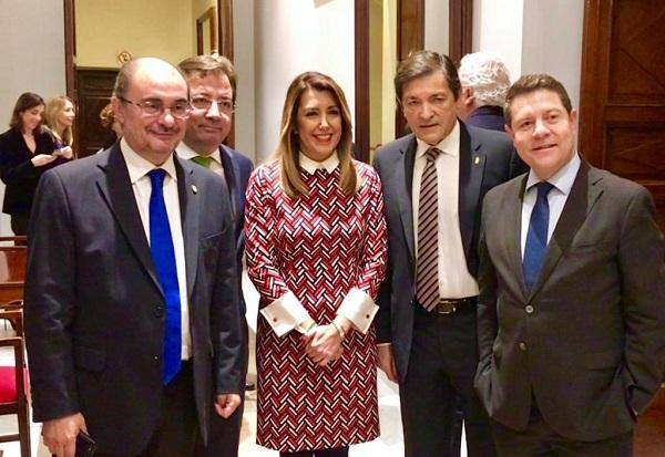 Susana Díaz con cuatro presidentes autonómicos socialistas.