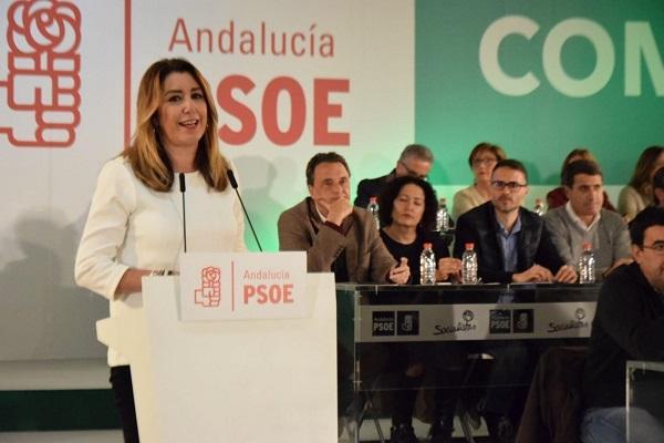 Susana Díaz, durante su intervención en el acto del PSOE-A en Antequera.