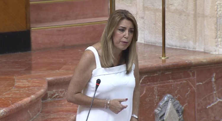Susana Díaz, este jueves en el Parlamento.