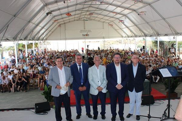 El consejero de Agricultura con los presidentes de las diputaciones de Granada y Almería, el alcalde de Turón y el presidente de Abuxarra.