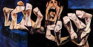 'El grito 1', de la colección 'La edad de laira', de Oswaldo Guayasamín.