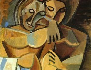 Reproducción parcial de 'La amistad', de Pablo Picasso (1908).