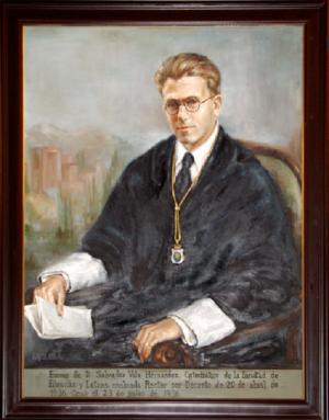Retrato del que fuera rector de la Universidad de Granada Salvador Vila.