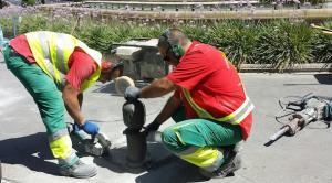 Trabajos iniciados este miércoles en la Plaza de Isabel La Católica.