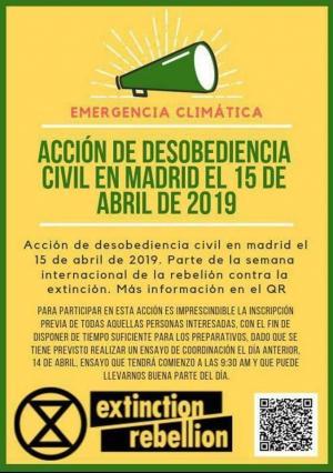 Cartel sobre la acción de protesta.