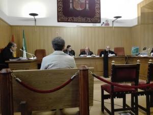 El acusado, de espaldas, ante el tribunal.
