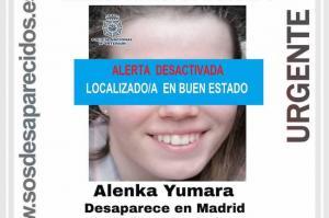 Imagen difundida por Sos Desparecidos tras el hallazgo de Alenka Yumara.