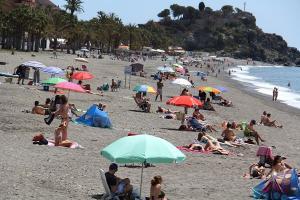 Playa de San Cristóbal, este domingo.