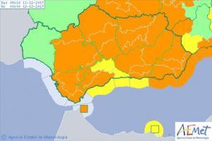 La mayor parte de Andalucía, en aviso naranja este lunes.