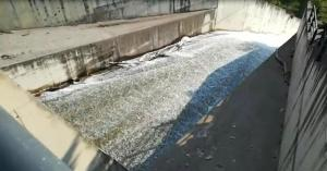 El agua sale por el aliviadero de Canales, este martes.
