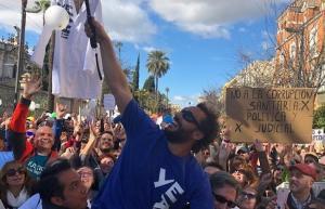 Jesús Candel, en la manifestación este domingo en Sevilla.