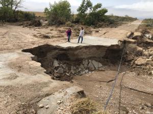 Una docena de vías han resultado afectadas en la provincia de Granada. En la imagen, estado de un camino entre Baza y Caniles.