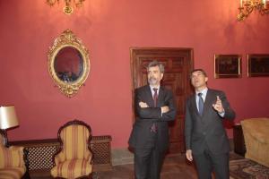 Carlos Lesmes, en una visita a Granada, con Lorenzo del Río.