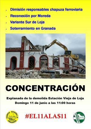 Cartel con la imagen del derribo de la estación de Loja.