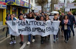 Manifestación de este domingo por la mejora del servicio de bus en Churriana.