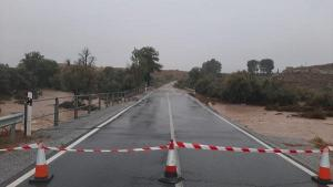 Carretera A4200 entre Baza y Benamaurel, una de las más afectadas por las lluvias.