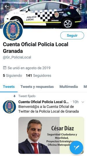 Captura de pantalla de la nueva cuenta oficial de la Policía Local de Granada con el mensaje de César Díaz inicialmente fijado en el perfil.
