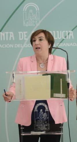 Sandra García en una rueda de prensa.