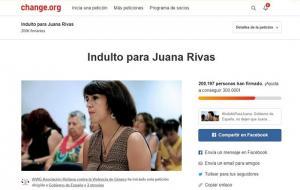 Captura de pantalla de la petición en change.org