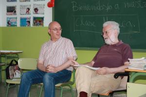 Frato, en un momento del encuentro en la Ciudad de los Niños de Granada.