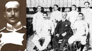 Mauricio Álvarez en 1900 y rodeado de esgrimistas en 1908 (Revista Gran Vida).