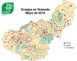 Mapa con las granjas actuales y proyectadas.