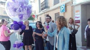 Globos para festejar el primer Centro de Atención a la Mujer del municipio.