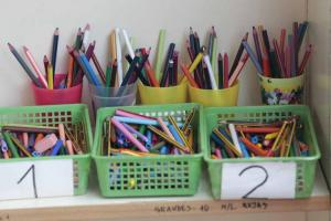 Material escolar en un centro público.