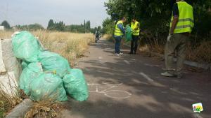 Bolsas de basura recogida en el carril bici.