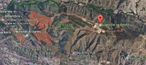 Localización del Llano de la Perdiz, en el entorno de la Alhambra.