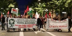 Manifestación este viernes por la tarde en Granada por una educación pública de calidad.