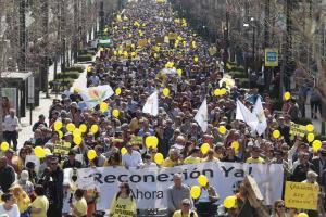 Imagen de una de las manifestaciones de la Marea Amarilla y Granada en Marcha.