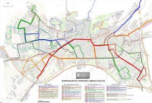 Mapa general con la reordenación de las líneas de bus.