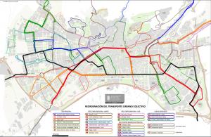 Mapa con todas las líneas de bus.