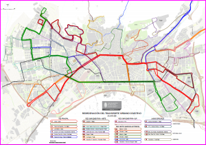 Mapa con el recorrido de las líneas.
